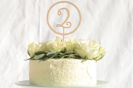 Cake Topper - auch Zahlen sind möglich, wirkt sehr elegant.